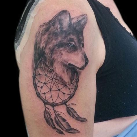 graceful dream catcher shoulder tattoos