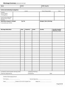 Hospital Chart Template Discharge Summary Templates 4 Samples To Create