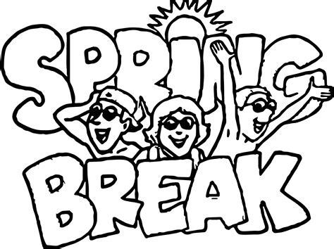 Spring Break Coloring Page Wecoloringpagecom