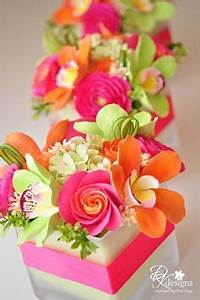 Bright pink yellow & orange wedding decorations don t