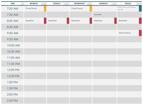 college class schedule template college class schedule template college class schedule