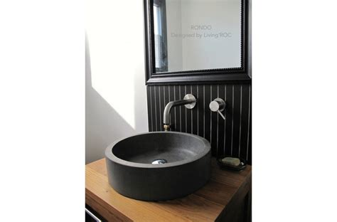 "16"" Round Bathroom Sink Gray Basalt Natural Stone Rondo"