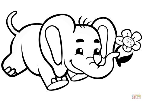 cute baby elephant  flower coloring page