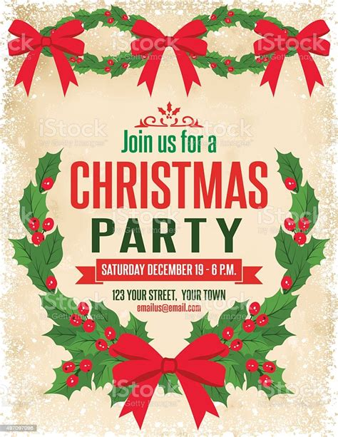 Holly Christmas Party Invitation Template Stock