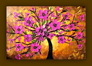 Pink Flower Painting Pink Tree Painting by ...
