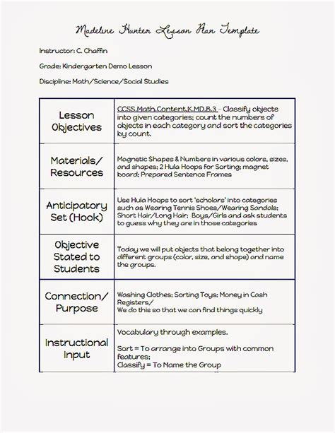 Madeline Lesson Plan Template Madeline Lesson Plan Template Template Business