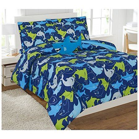 decotex bed comforter set singapore decotex 6 or 8 blue shark bed in a bag comforter bedding set with plush and