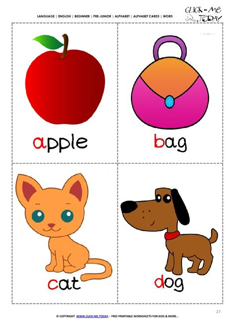 printable alphabet flashcards picture word abcd