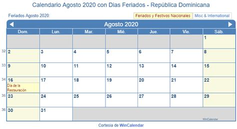 calendario agosto imprimir republica dominicana