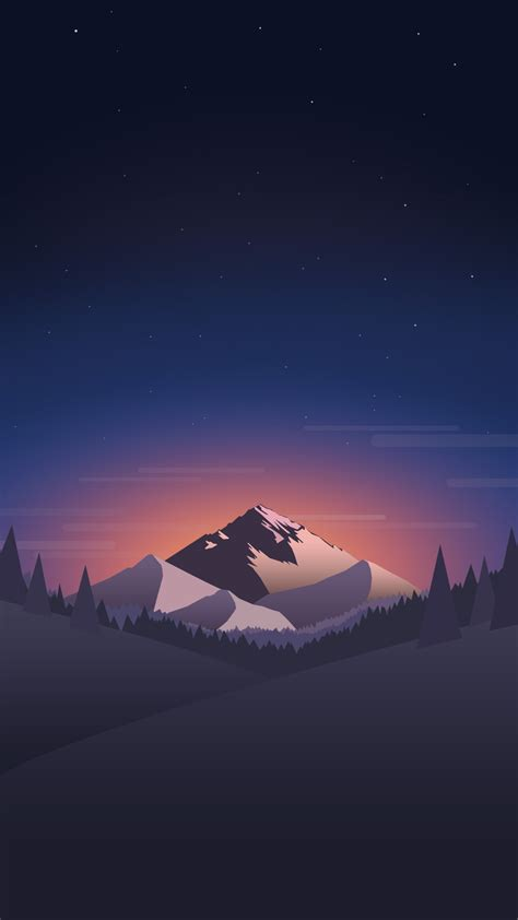 digital minimal mountains forest night iphone wallpaper
