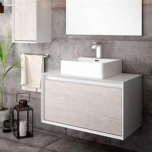 Meuble Salle De Bain A Poser : meuble salle de bain 79 5 cm pour vasque poser tokyo ~ Teatrodelosmanantiales.com Idées de Décoration
