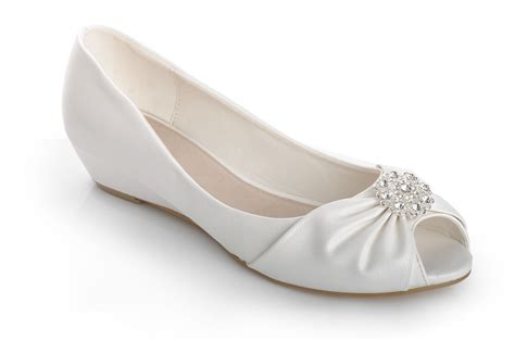 Off White Diamante Brooch Peeptoe Wedge Low Heels Wedding