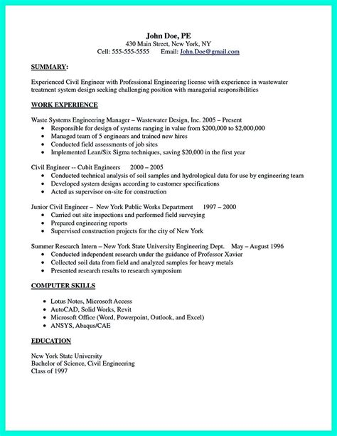 Civil engineers are typically involved in the designing and management of construction projects, particularly as it relates to use concrete, quantifiable examples as often as possible when describing past projects. There are so many Civil engineering resume samples you can download. One of good and effective ...
