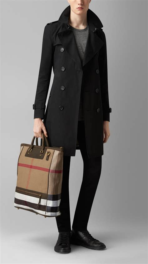 lyst burberry large canvas check  leather tote bag