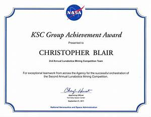 NASA Kennedy Space Center Group Achievement Award - Resume ...