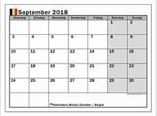 Kalender september 2018, België Michel Zbinden nl