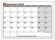 Kalender september 2018, België