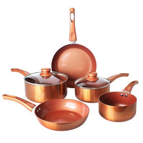 piece copper pan set  stick aluminium induction hob ceramic stainless steel