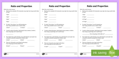 ratio and proportion worksheet 2 differentiated ratio