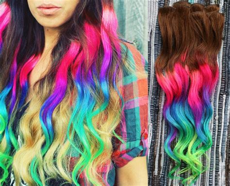 Neon Dream Clip In Hair Extensions Ombre Hair Tie Dye Tips