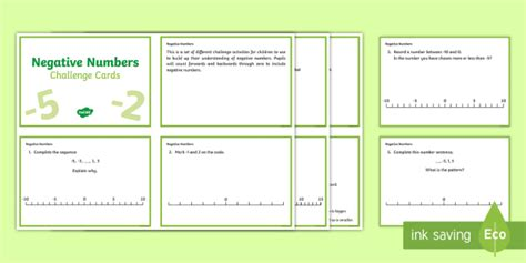 Lks2 Negative Numbers Challenge Cards  Ks2, Maths, Negative