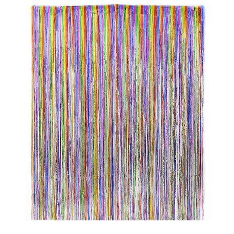 dr16665 rainbow foil fringe curtain