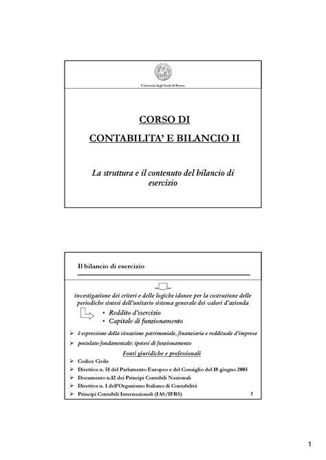 dispense contabilità contabilit 224 e bilancio la struttura e il contenuto