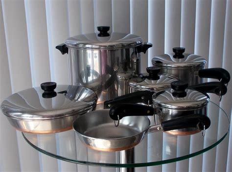 vintage revere ware cookware set copper clad  pc cookware set revere ware cookware