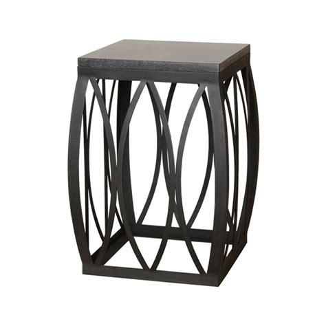 metal garden stool small vaulted granite matte black metal stool table
