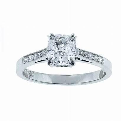 Cushion Cut Diamond Solitaire Platinum Rings Ring