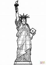 Liberty Statue Coloring Printable Pages Supercoloring Drawing Dot sketch template