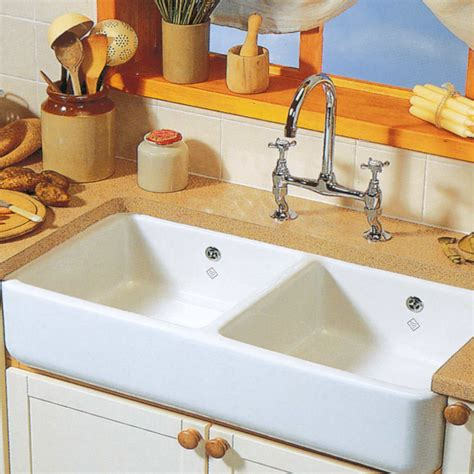 Shaws Classic 1000 Double Ceramic Sink  Kitchen Sinks & Taps