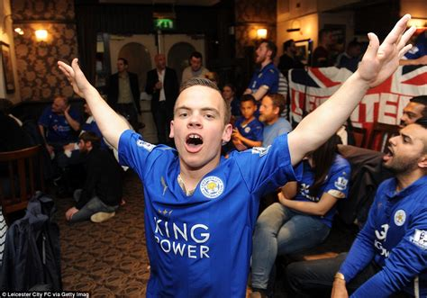 hand fans party city leicester city players and fans celebrate winning the