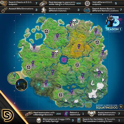 fortnite  lowdown challenges cheat sheet map find