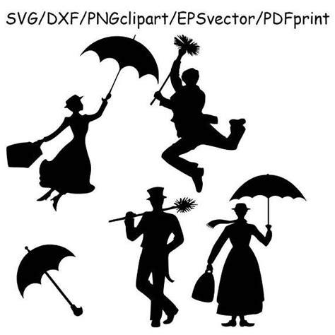 Poppins Clipart Poppins Bert Svg Poppins Silhouette Clipart