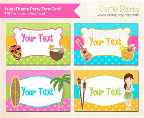 Luau Theme Party Editable Party Printable Hawaii Party Tent