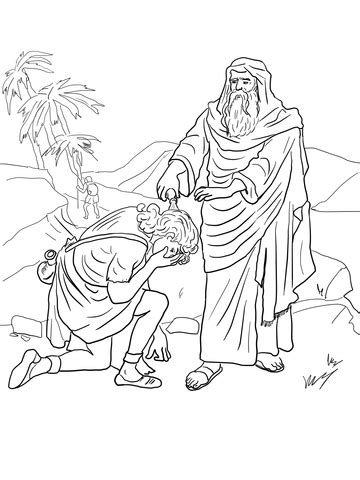 samuel anoints david  king coloring page
