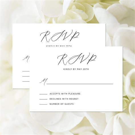 Modern Wedding RSVP Card Editable Template Minimalist