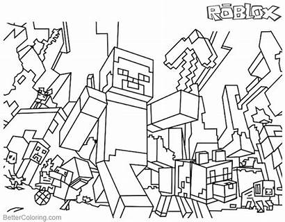 Roblox Minecraft Coloring Pages Printable Lego Steve