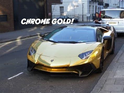 lamborghini aventador sv roadster gold chrome gold lamborghini aventador lp750 4 sv roadster in london youtube