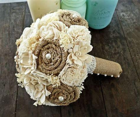 Custom Wedding Bouquet Burlap Sola Flower Eco Friendly