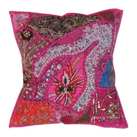 Decorative Sequin Pillow by Pink Antique Beaded Patchwork Indian Embroidered Throw