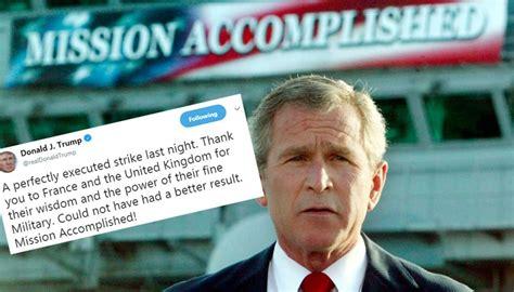 accomplished mission trump bush iraq claim echoes newshub