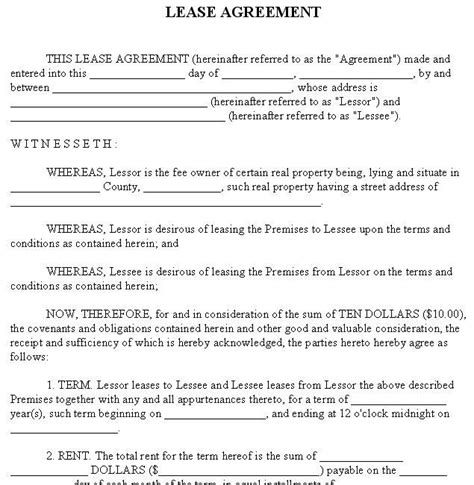 Rental Agreement Forms  Lease Agreement Form Copter