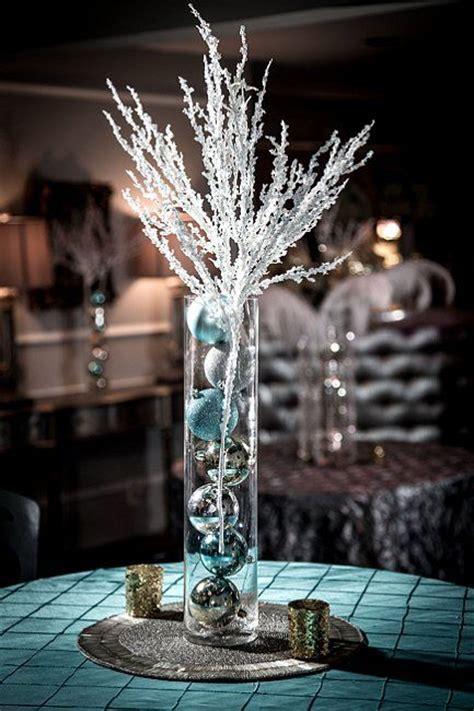Winter Wedding Centerpiece Silver And Blue Christmas