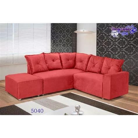 sofa de canto puff vermelho sof 225 de canto 5 lugares 5040 puff grande tecido suede