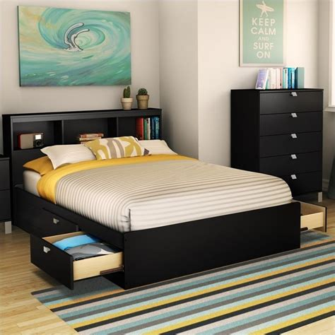 South Shore Affinato Full Mates Bed in Pure Black - 3270211