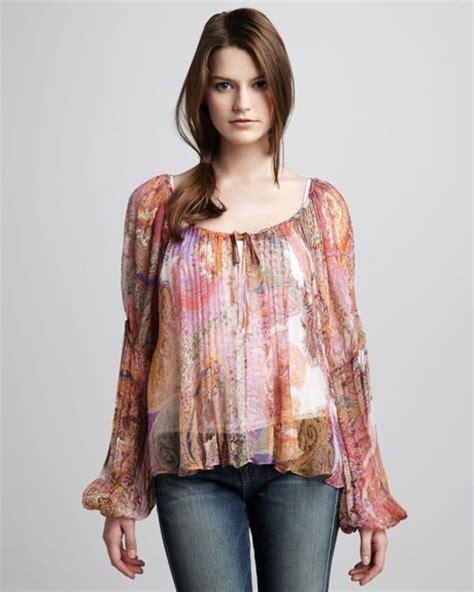 haute hippie blouse haute hippie printed peasant blouse in multicolor iris