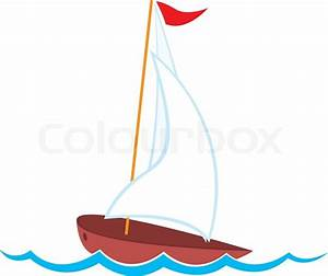 Vector illustration of cartoon yacht | Stock Vector ...