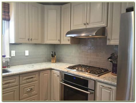 Glass Tile Kitchen Backsplash White Cabinets-tiles